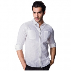 Men Simple Design Shirt Solid Color Long-sleeved Slim Style Shirt White M