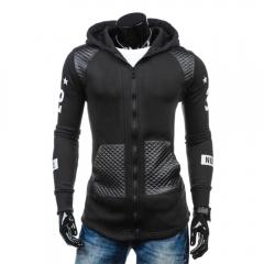 Men Fashion Leather Fleece Cardigan Hoodies Black L