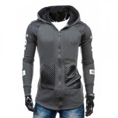 Men Fashion Leather Fleece Cardigan Hoodies Gray 2XL