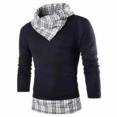 Men High Collar Slim Sweater Knitted Long-sleeved T-shirt Plaid M