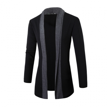 Men Fashion Cardigan Sweater Casual Knitted Coats Dark gray L