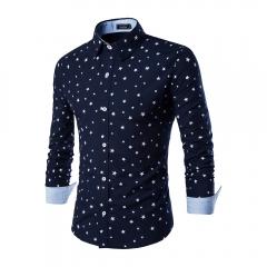 New arrival fashion Men Casual Star Pattern Long Sleeve Shirt Black M