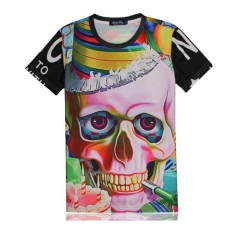 Men Short Sleeve 3D Creative Printed Skull Lovers T-shirt As the Picture S