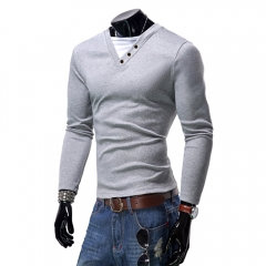 Men Fashion Solid Color Slim Long-sleeved T-shirts Light gray XL