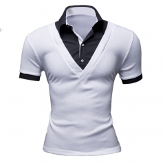 New Arrival Men Casual Short Sleeve Slim T-shirts White L