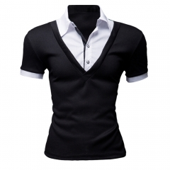 New Arrival Men Casual Short Sleeve Slim T-shirts Black XL