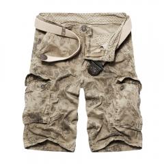 European Style Fashion New Men Multi-pocket Cargo Shorts Khaki 32