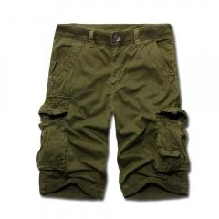 European Fashion New Men Multi-pocket Cargo Shorts Army Green 32