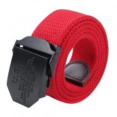Men Fashion Casual Style Simple Canvas Belt Red