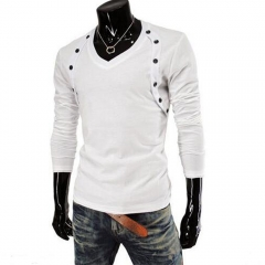 Men Double-breasted Design Long Sleeve T-shirts White M