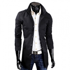 Men Casual Style Middle Length Windbreaker Coat  Epaulet Coat Black L