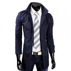 Men Casual Style Middle Length Windbreaker Coat  Epaulet Coat Dark blue XL