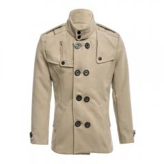 Stylish Men Zipper Design Both Sides Pocket Double-Breasted Overcoat Light Khaki L