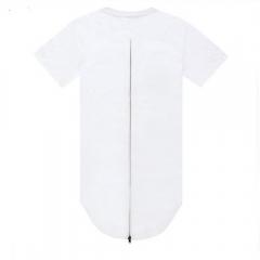 Hip-Hop Fashion Men Solid Color Round Neck T-shirt White L