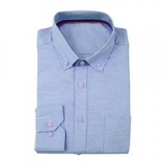 Men Pure Color Oxford Business Big Size Shirt Acid Blue L
