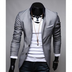 Men Fashion Personalized Cool Dresses Suit Gray M