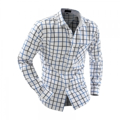 Casual Turn Down Collar Long Sleeve Plaid Print Pocket Design Shirt Blue and Black L