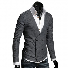 European Style Men Double-breasted Wool Knitted Sweater Coats Gray M