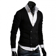 European Style Men Double-breasted Wool Knitted Sweater Coats Black L