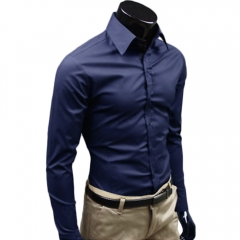 Men Fashion Casual and Simple Solid Color Long-sleeved Shirt Dark blue L