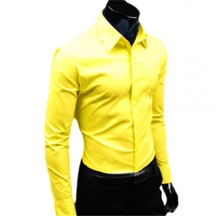 Men Fashion Casual and Simple Solid Color Long-sleeved Shirt Light Yellow 2XL