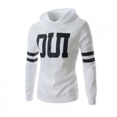Men Fashion Letter Prited Slim Jacket Pullover Hoodies White M