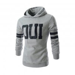 Men Fashion Letter Prited Slim Jacket Pullover Hoodies Light gray 2XL