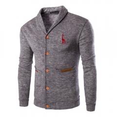 Men Casual Solid Color Sweater Cardigan Coat Light gray L