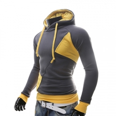 New Men Jackets Zip Hooded Sweatshirts Hoodie Splicing Coat Yellow M