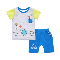 2016 Summer Clothes, Baby Boys Suits, T-shirt + Shorts, Age(0-3 years). gray 90cm