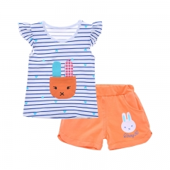 2016 Summer Clothes, Baby Girls Suits, T-shirt + Shorts, Age(0-3 years). orange 80cm