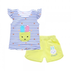 2016 Summer Clothes, Baby Girls Suits, T-shirt + Shorts, Age(0-3 years). yellow 80cm