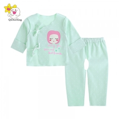 2016 Baby Girls Suits, Short back of top + open-seat pants, Age(3 months). green 59cm