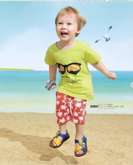 2016 Summer Clothes, Baby Boys Suits, T-shirt + Shorts, Age(0-4 years). fluorescent green 80cm