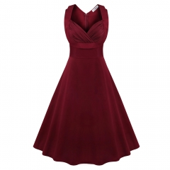 Retro Dress Woman Sleeveless Big Hem V-neck Sexy Dress Wine Red M