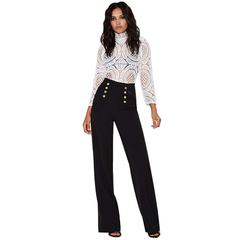 Gamiss Fashion Office Lady Pants Woman Elegant Button Design Casual Pants Black S