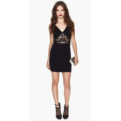 Package-hip Dress Deep V Shape Collar And Spliced Lace Dress Black M