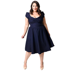 Plus Size Dress Woman Square Neckline Short Sleeve  Dress Navy Blue 2XL