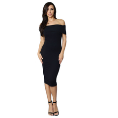 New Style Fashion Ladies Dresses Slim Slash Three Color Elegant Woman Dress Black S