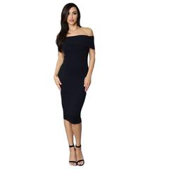 New Style Fashion Ladies Dresses Slim Slash Three Color Elegant Woman Dress Black S