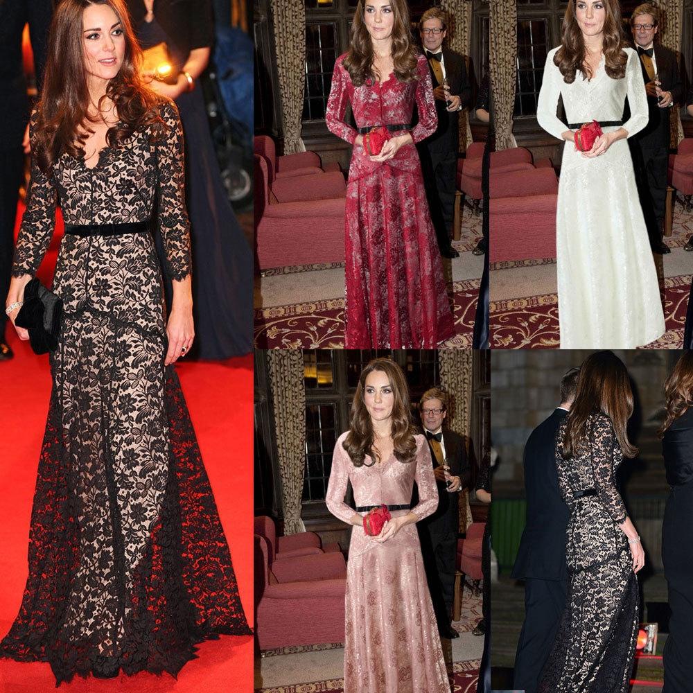 Elegant Fashion V-neck Lace Woman Closed-fitting Long Dress Red M ... 49fdd837c