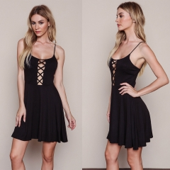 Sexy Belt Cross Straps Dress Woman Condole Belt Sexy Style Dress Black S