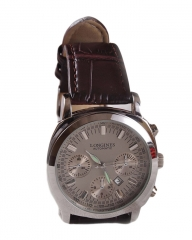 Longinees Executive Silver Date Display Watch - Brown