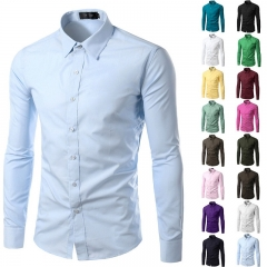 New Off Shirt Men 2016 Autumn Fashion Solid Color Slim Fit Long Sleeve SKY BLUE S