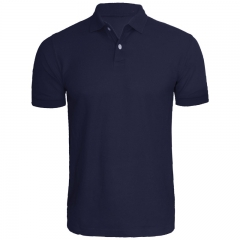 Brand 2016 New Men Polo Shirt Men 's Business & Casual solid polo shirt Short Sleeve Breathable NAVY BLUE S