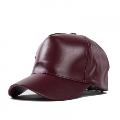 2017 Unisex Men Women PU Leather Baseball Cap Outdoor Sport Adjustable Fashionable Hat maroon one size