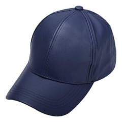 2017 Unisex Men/Women PU Leather Baseball Cap Outdoor Sport Adjustable Fashionable Hat - Navy blue navy blue one size