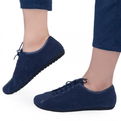 Casual Men Solid Color Lace Up Breathable Leather Shoes Blue 40