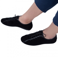 Summer Casual Men Solid Color Lace Up Breathable Leather Shoes Black 44