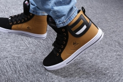 Fashion Men Casual Sport Athletic Running Sneakers High Top Shoe Yellow with Black 39